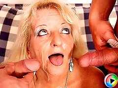 Naughty granny slut eager for cum and hard cock lets the two guys do her hot body