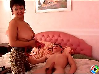 Brunette mom and naughty lad