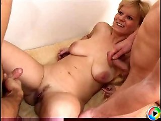 Hot blonds mom gets fucked by two lads for the first time